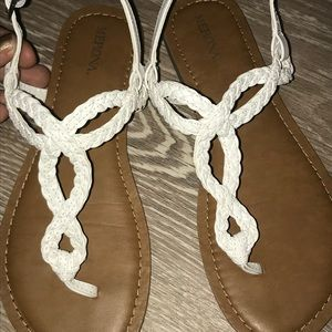 Shoes - Brand new white and brown sandals.
